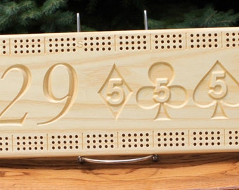 29 Hand Cribbage Board Made From White Ash
