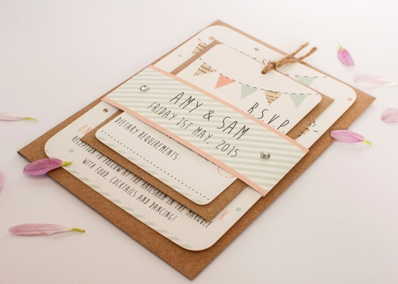 Peach and mint wedding invitation - bunting gem bundle