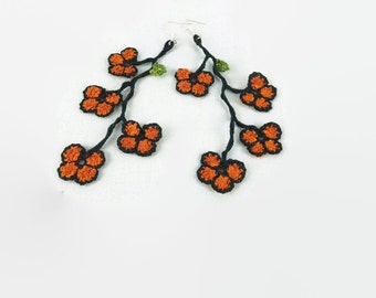 Orange and Black  oya flower  crochet earrings, Silver plated earring wire , thread crochet dangle earrings, Textile jewelry, summer trend