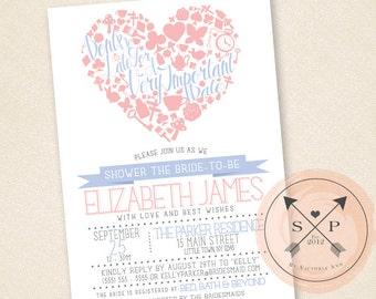 Printable DIY Alice in Wonderland Inspired Bridal / Baby Shower Invitation Design