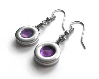 Modern Dark Purple and Silver Earrings, Industrial Round Dangle, Stainless Steel Jewelry for Her, Gift for Mom, Plum