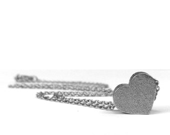 Small Silver Heart Necklace, Stainless Steel Jewelry, Gift for Girlfriend, Love Jewelry, Push Present