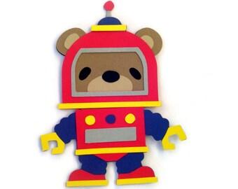 Teddy Bear Robot Card - Robots - Robot Shaped Card - Robots - Teddy Bear Space Man Card - Kids Cards - Teddy Bear Card - Teddy Robots