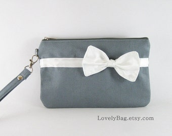 SUPER SALE - Gray with Little Ivory Bow Clutch - Bridal Clutches, Bridesmaid Wristlet, Wedding Gift, Zipper Pouch - Made To Order
