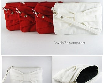 Set of 6 Wedding Clutches, Bridesmaids Clutches / ( 5 Red Bow and 1 Ivory Bow ) - Personalized Monogram Zipper Pull - MADE TO ORDER
