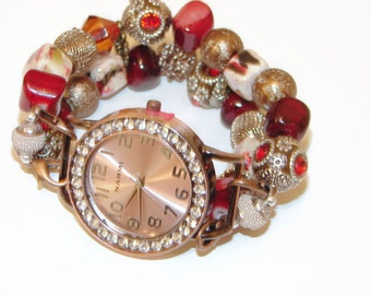 Red and Copper Small Beaded Watch  - Red and Copper Beaded Bracelet Watch -  Interchangeable Watch-BeadsnTime- Unique Gift -Valentine Gift
