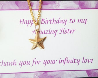 starfish necklace,gift for mom and sister birthday gift,