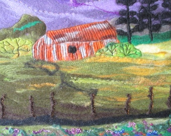 textile art. landscape art, old barn at dusk, 20 x 16 inches
