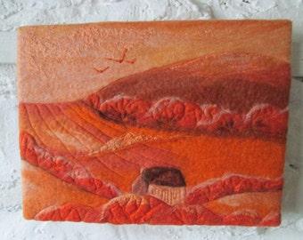 monochrome felt art, wet felted, art on canvas, 9 x 12 inches