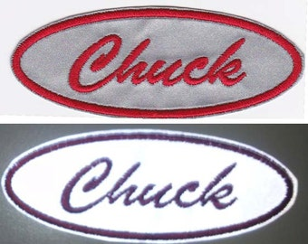 1.5 X 4 Oval Personalized Custom Embroidered Reflective Name Patch with Velcro Option
