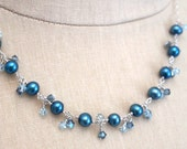 Teal pearl necklace by Cerise Jewelry