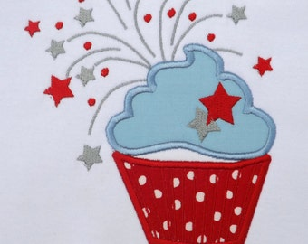 Fourth of July Cupcake T-Shirt or Bodysuit