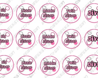 """1"""" DIGITAL Bottle Cap IMAGES - SISTERS-For Use On Finished Products & For Precut sale"""