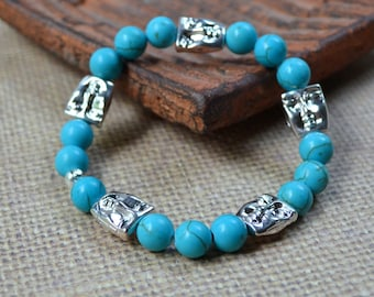 Boho Chic Stretch Stacking Bracelet Turquoise Howlite Silver Moon Face Beads Bohemian Hippie Fashion Jewelry Matching Earrings Free Shipping