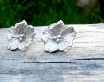 Wildflower Earrings - Sterling Silver Floral Studs - Post Style - Cast Metalwork - Shiny or Oxidized
