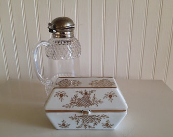 Anitque Porcelain Box White and Gold Gilt Lidded Cigarette Holder Vintage Porcelain Box Butter Dish at Ageless Alchemy