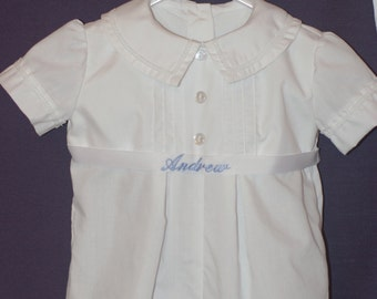 Baby Boy Christening outfit - Personalized for your baby! Comes with bonnet - Short-sleeved Cotton