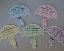 Unique Personalized Umbrella Baby Shower Birthday Party Favor Gift Tags or Any Occassion