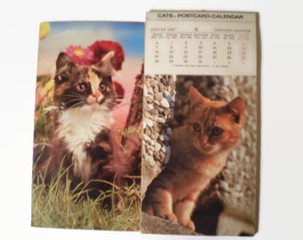 1980 Cats Postcard Calendar, Sormani German French Cat Wall Hanging, Kitten Pictures, Vintage Ephemera