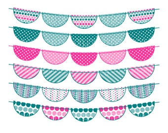 Instant Download Bunting Banners 035 Teal and Pink