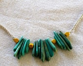"""17-Piece Tibetan Turquoise """"Ray of Shards"""" Necklace on Sterling Silver Chain"""