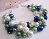 Pearl Cluster Bracelet in Ivory, Green, Blue, Bridesmaid Pearl Bracelet, Chunky Pearl Jewelry, Peacock Colors, Bridesmaid Bracelet