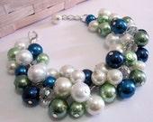 Pearl Cluster Bracelet in Ivory, Green, Blue, Bridesmaid Pearl Bracelet, Chunky Pearl Jewelry, Peacock Colors, Bridesmaid Bracelet