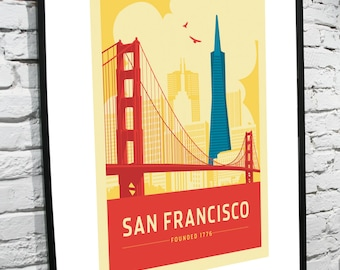 San Francisco, California Skyline 11x14 Poster