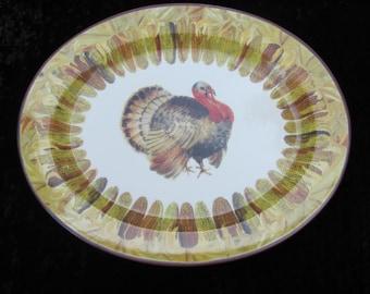 Ceramisia Thanksgiving Turkey Platter Corn Border Fall