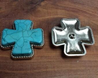 """2 Cross Conchos Turquoise 2"""""""