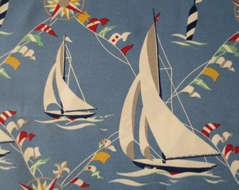 OUTDOOR Pillow Cover in a Sailboat Nautical Print