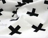 Yard - Black Cross in White 100% Cotton by Gage - Fikashop