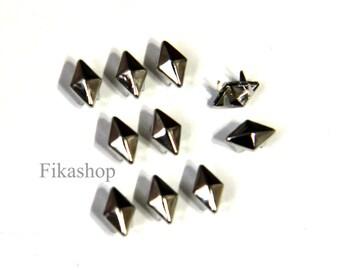 8X6mm 50pcs Silver Diamond Shaped Studs ( 5 legs ) / HIGH Quality - Fikashop