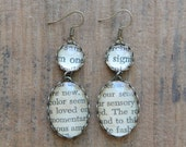 Vintage book page drop earrings