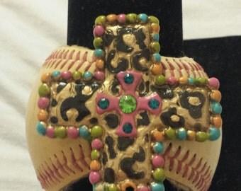 CHUNKY CROSS Baseball Cuff Bracelet