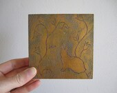 SALE- Rabbit Miniature Gold Silhouette Painting on Wood
