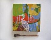 Original Heron Silhouette Painting on Wood