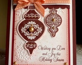 """Stampin up! Handmade Card  - """"Happy Holidays""""- red NEW"""