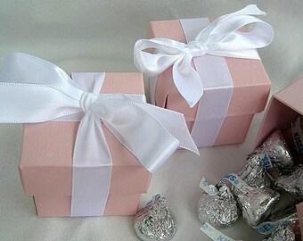 Favor Boxes Blush Pink Turquoise Aqua Blue Gold Silver Wedding Favor Box 2 x 2 x 2 w Lids and Ribbon w Tags Custom Favor Box