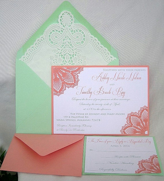 Coral And Mint Wedding Invitations: Items Similar To Coral N Mint Green Wedding Invitation W