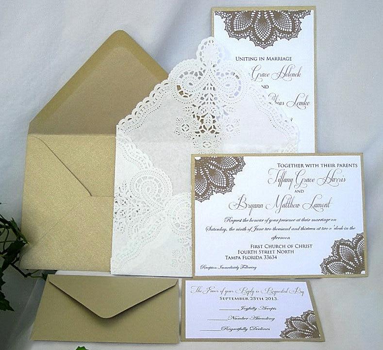 Unique Elegant Wedding Invitations: Wedding Invitation Elegant Unique Gold Metallic And White