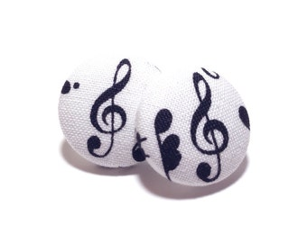 Small Music Note Print Button Earrings
