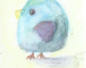 Original ACEO Watercolor Painting-  Little Blue Bird