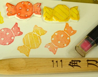 Candies- Handmade Unmounted Rubber stamps