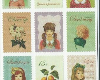 Japanese/ Korean Postage Stamp Stickers -Lovely Girls Petit