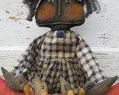 Primitive Grungy Folk Art Wanda and her Watermelon w/Crows Doll Set~Hafair
