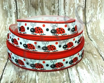 7/8 Grosgrain Lady Bug Ribbon 5 yards
