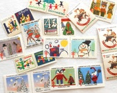 20 Vintage Christmas Seals with a Vintage Dennison Tag - Old American Lung Association Holiday Seal Stamps - 1960s, 1970s, 1980s, 19
