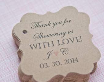 Wedding Shower Gift Tags- Paper Goods-Thank You Tags- Customized Favor Tags-Gift Tags-Set of 40