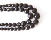 Laguna Vintage Black Bead Glass Necklace - 2 Strand Faceted - Retro - Black Beads Rhinestone Closure - Wedding Jewelry - Present